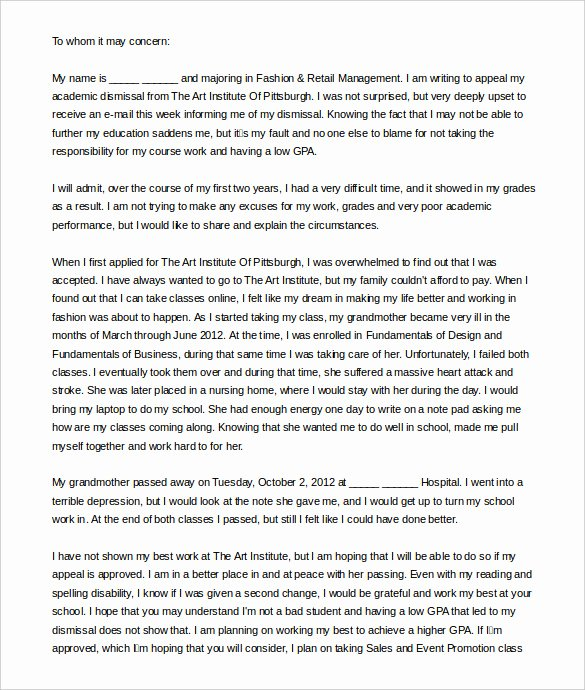 College Appeal Letter format New 17 Appeal Letter Templates Free Sample Example format
