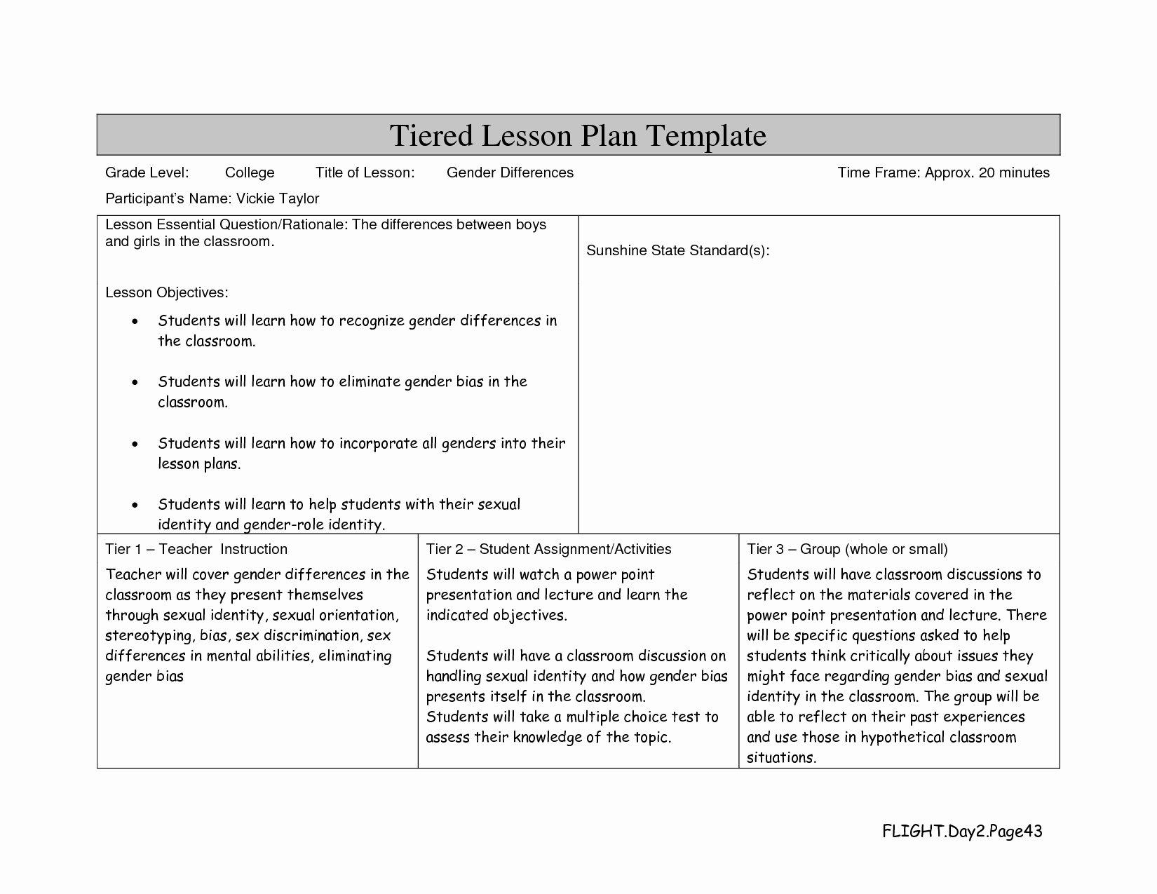 lesson plan template college level
