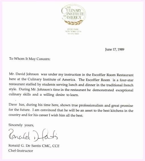 College Recommendation Letter From Alumni Sample Best Of Pro Chef David Johnson Culinary Institute Of America