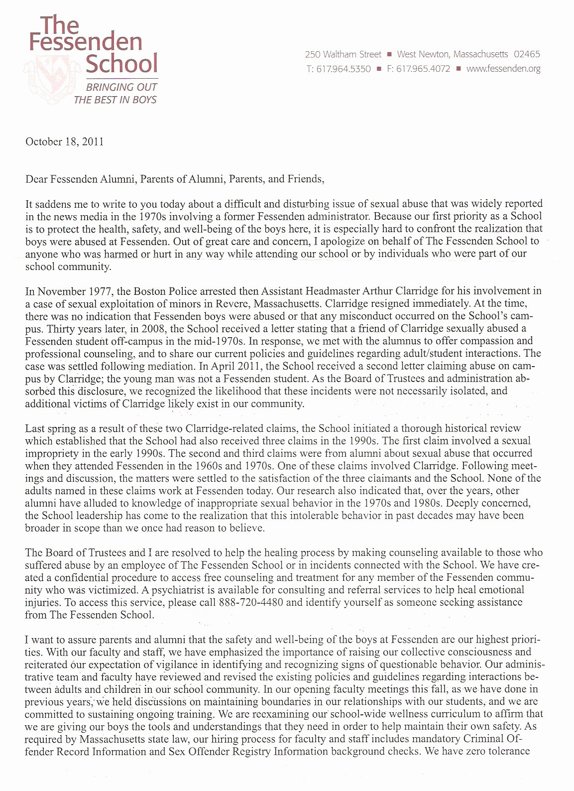 College Recommendation Letter From Alumni Sample Luxury Fessenden School Abuse Scandal It S Worse