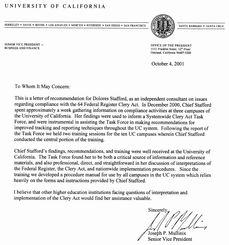 College Recommendation Letter From Alumni Sample New About Clery Act Training & Campus Safety D Stafford