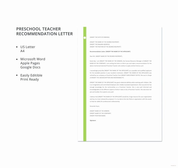 College Recommendation Letter From Parent Luxury Letter Re Mendation for Teacher 8 Free Word