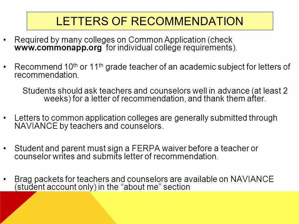 Common App Letter Of Recommendation Fresh Tphs Junior Parent Night Ppt