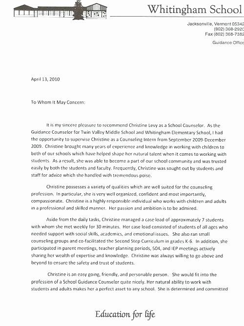 Common App Letter Of Recommendation Lovely Counseling Cover Letter Examples 6 Best S Sample