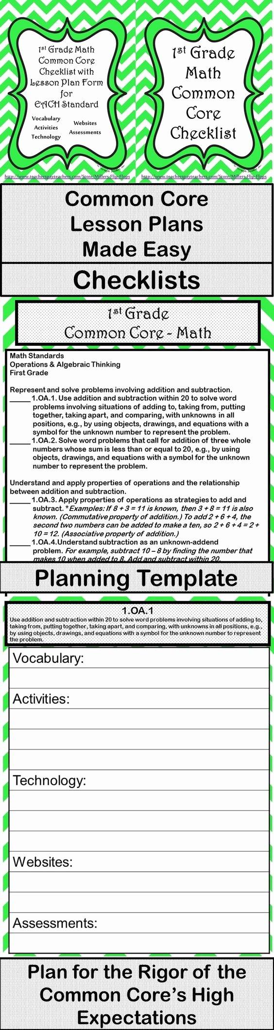 Common Core Lesson Plan Template Beautiful 1st Grade Math Mon Core Checklist Lesson Planning