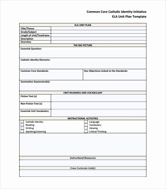 Common Core Lesson Plan Template Best Of 12 Sample Unit Plan Templates to Download for Free