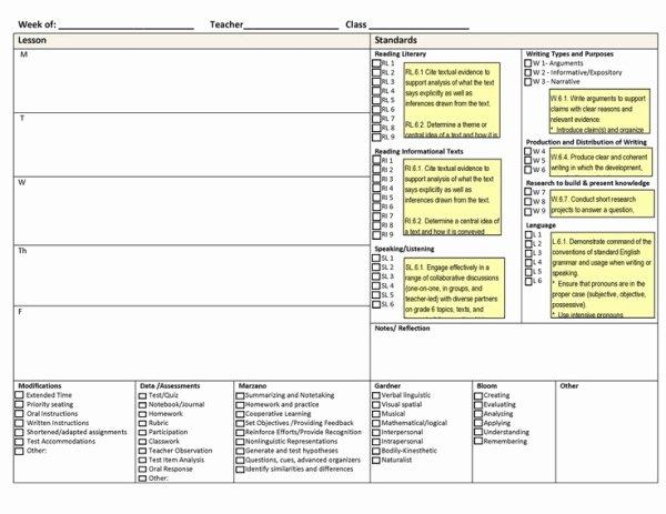 Common Core Lesson Plan Template Best Of Mon Core Weekly Lesson Plan Template Includes