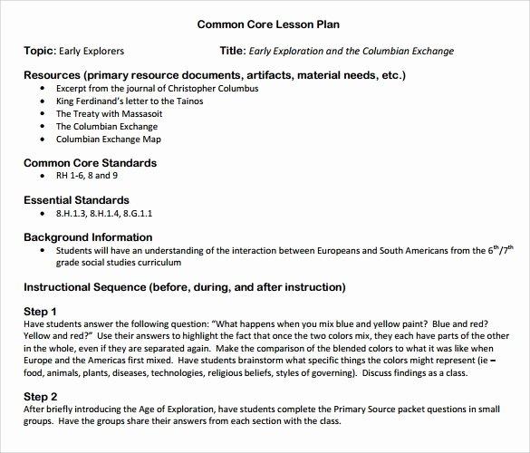 Common Core Lesson Plan Template Elegant 9 Mon Core Lesson Plan Samples