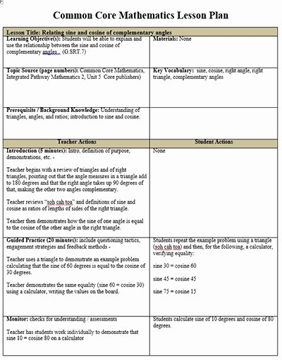 Common Core Lesson Plan Template Elegant Mon Core Lesson Plan Template