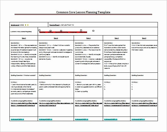 Common Core Lesson Plan Template New 8 Lesson Plan Templates – Free Sample Example format