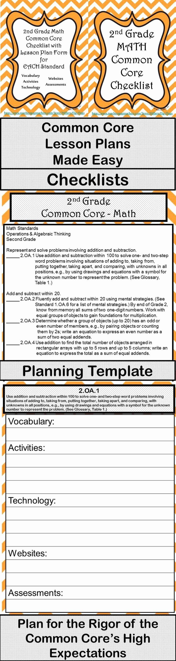 Common Core Lesson Plan Template Unique 2nd Grade Math Mon Core Checklist Lesson Planning