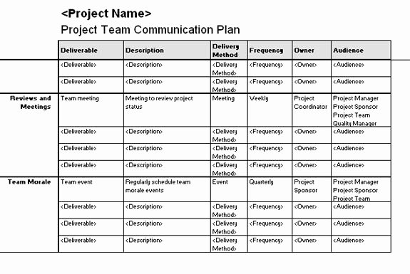 Communication Management Plan Template Best Of Project Team Munication Plan Templates Fice