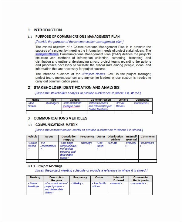 Communication Management Plan Template Lovely Munication Plan 11 Pdf Word Documents Download