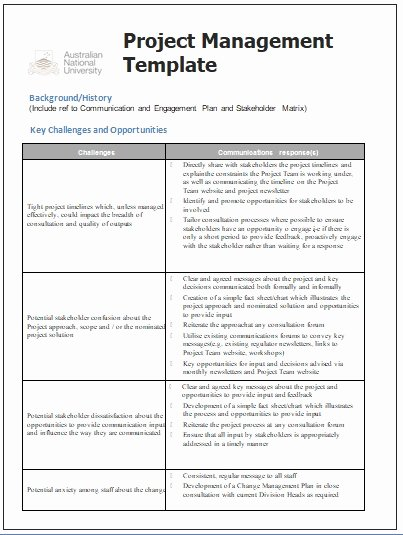 Communication Management Plan Template Luxury Project Management Templates