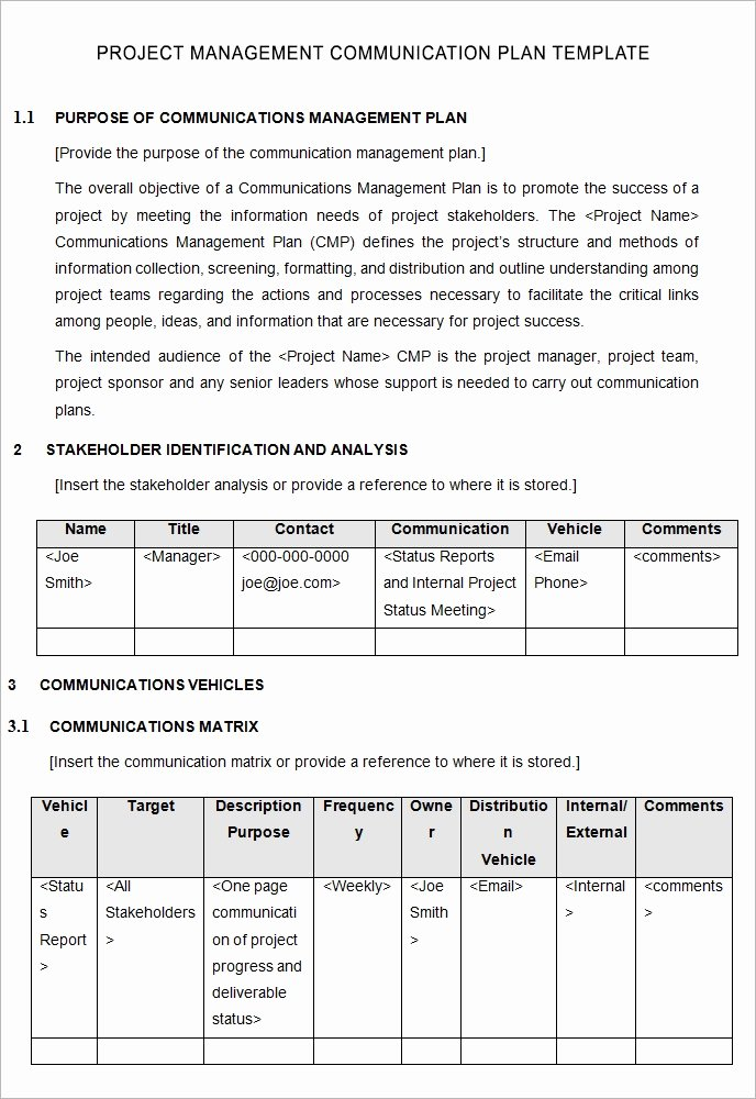 Communication Management Plan Template New 10 Project Management Munication Plan Templates