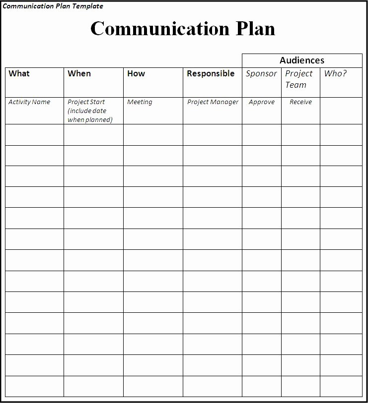 Communication Plan Template Excel Fresh Munication Plan Template