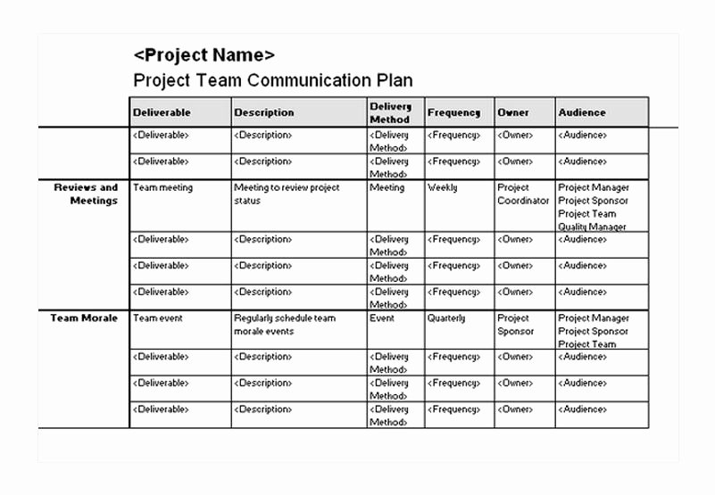 Communication Plan Template Excel Luxury Project Team Munication Plan