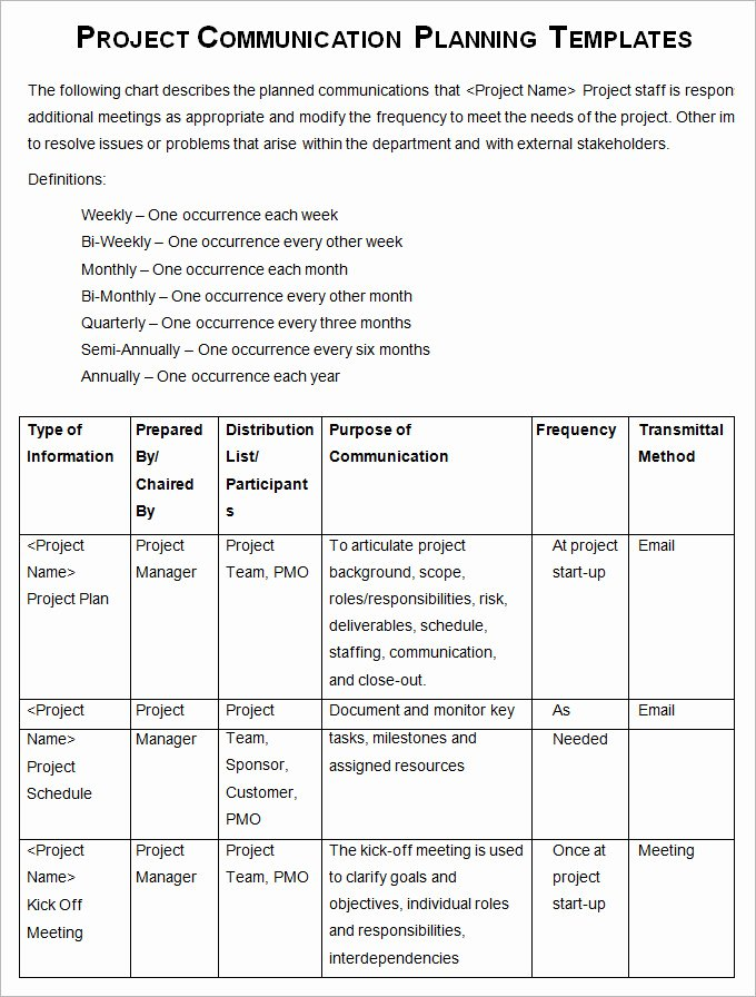 Communication Plan Template Excel Unique 10 Project Management Munication Plan Templates
