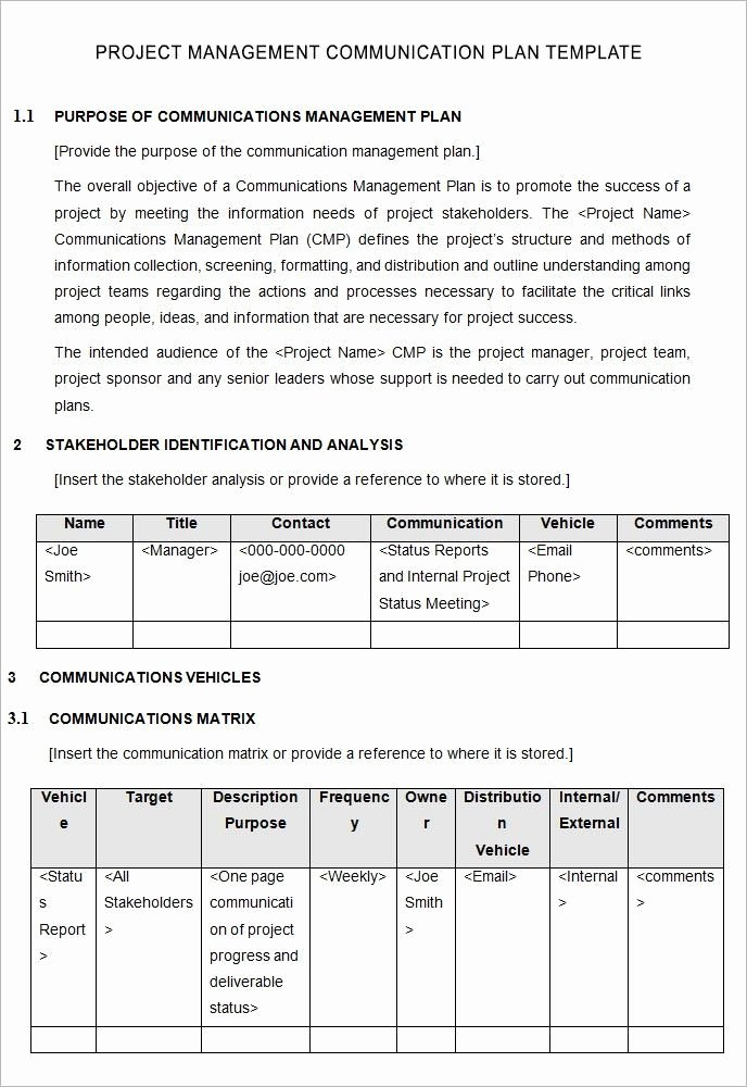 Communication Plan Template Excel Unique Project Management Munication Plan Template 5 Free