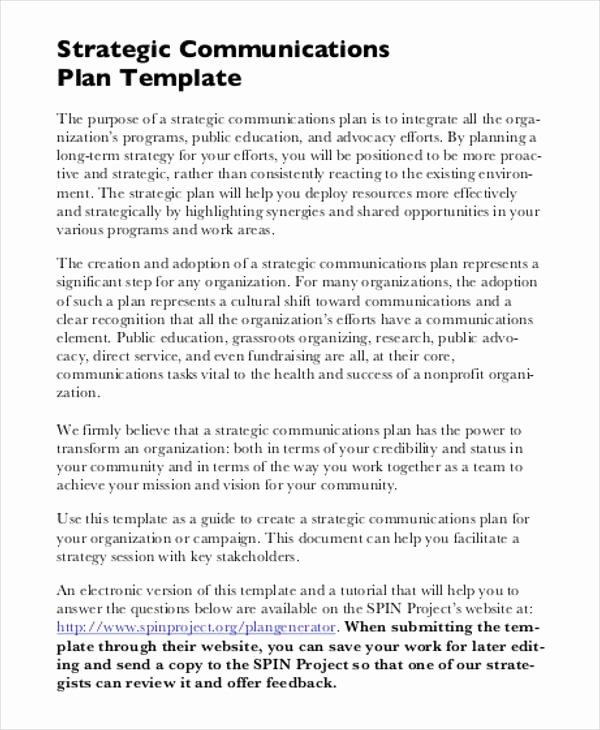 Communication Plan Template Word Awesome Free Strategic Plan 45 Free Word Pdf Ppt format