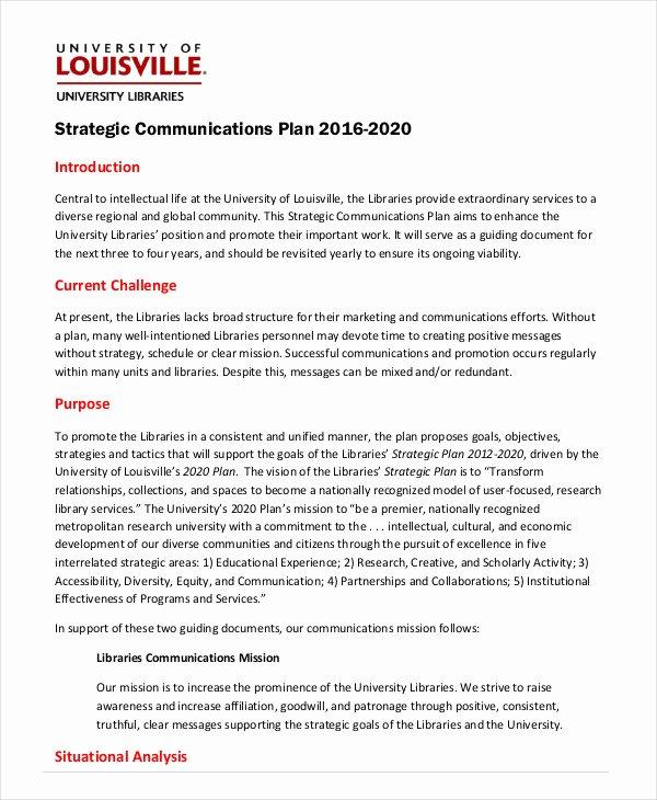 Communication Plan Template Word Beautiful Strategic Plan Template 10 Free Word Pdf Documents