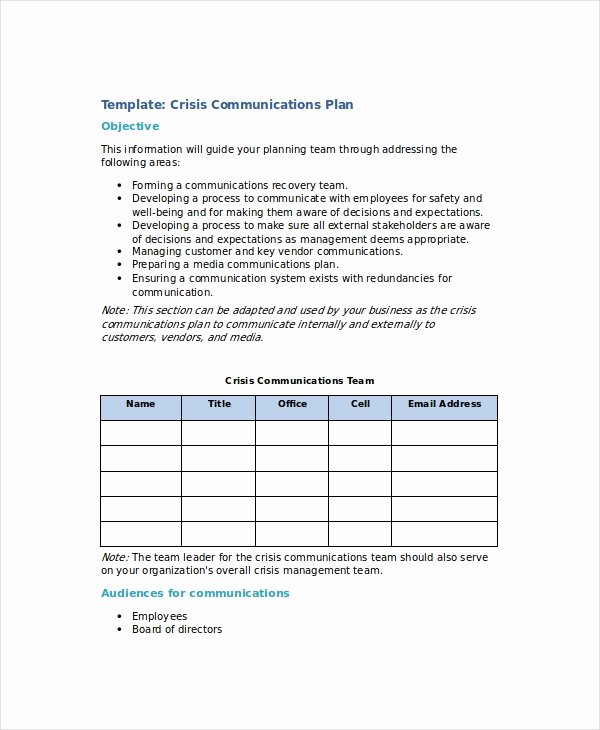 Communications Plan Template Word Lovely Crisis Plan Template 10 Word Pdf Google Docs Apple
