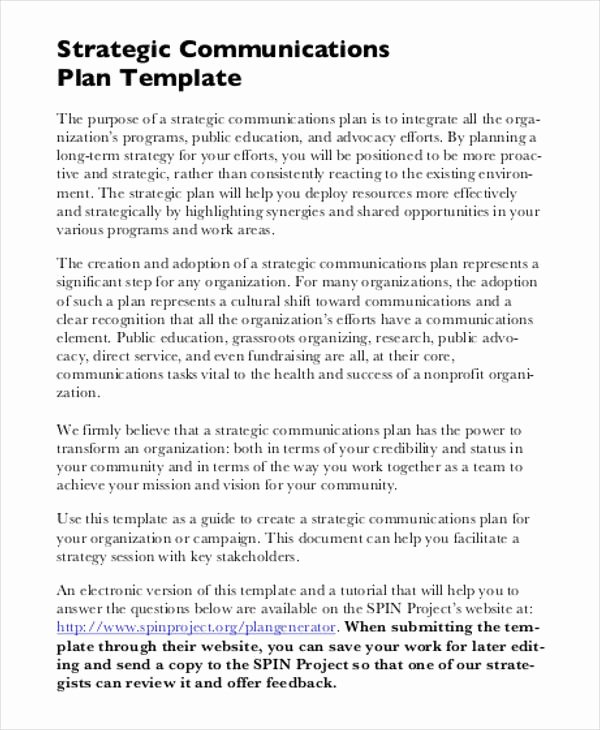 Communications Plan Template Word Lovely Free Strategic Plan 45 Free Word Pdf Ppt format