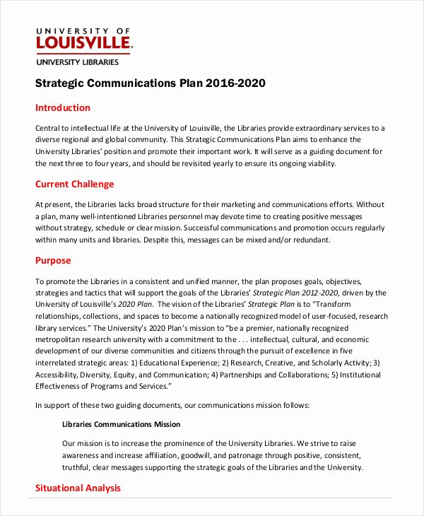 Communications Plan Template Word Unique Strategic Plan Template 10 Free Word Pdf Documents