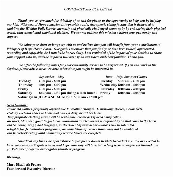 Community Service Letter Of Recommendation Luxury Sample Munity Service Letter 25 Download Free