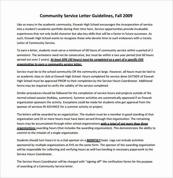 Community Service Recommendation Letter Elegant Sample Munity Service Letter 7 Download Free