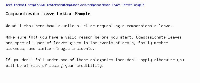 Compassion Letter Writing Template Unique Passionate Leave Letter Sample