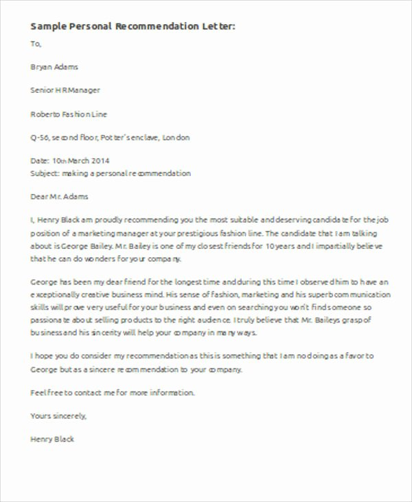 Confidential Letter Of Recommendation Fresh 6 Sample Personal Re Mendation Letters