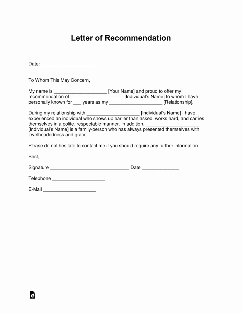 Confidential Letter Of Recommendation Inspirational Free Personal Letter Of Re Mendation Template for A