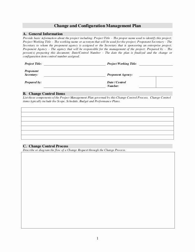 Configuration Management Plan Template Elegant Change and Configuration Management Plan Template 1 2