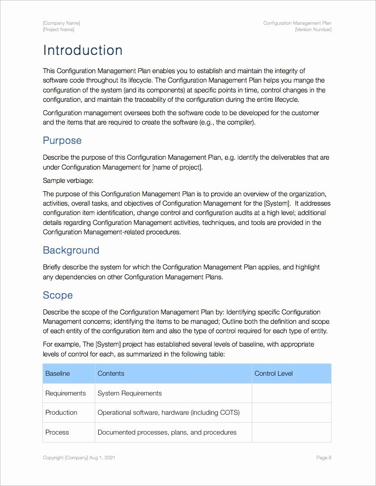 Configuration Management Plan Template Inspirational Configuration Management Plan Template Apple Iwork Pages
