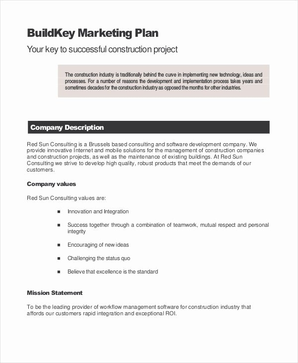 Construction Business Plan Template Inspirational 11 Marketing Plan Templates Pdf Doc Excel