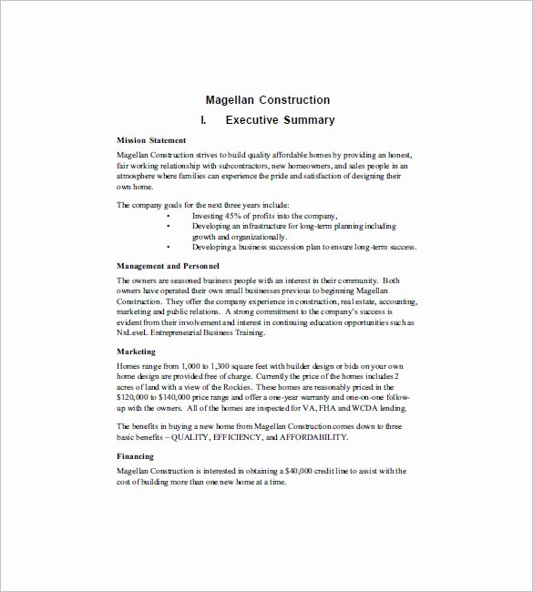 Construction Business Plan Template Inspirational Construction Business Plan Template 12 Free Word Excel