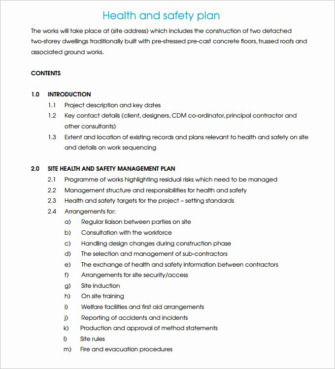 Construction Safety Plan Template Beautiful Construction Safety Plan Template 17 Free Word Pdf