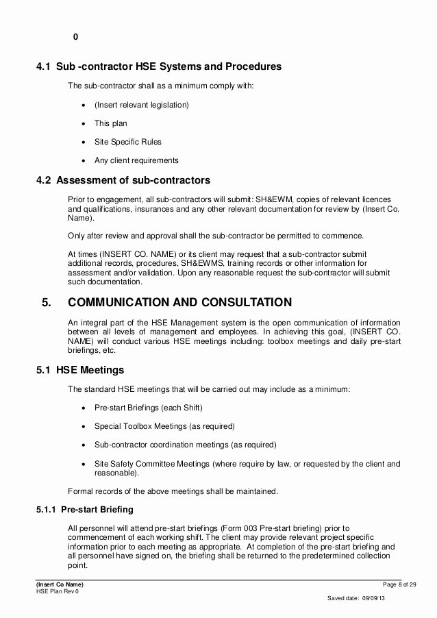 Construction Safety Plan Template Best Of Contractor Safety Plan Template Bing Images