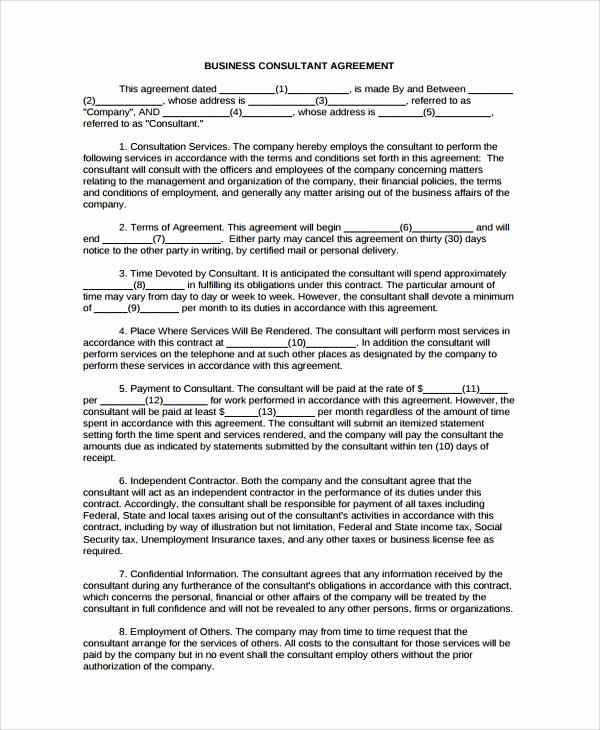 Consulting Business Plan Template Unique 8 Business Consulting Agreement Templates