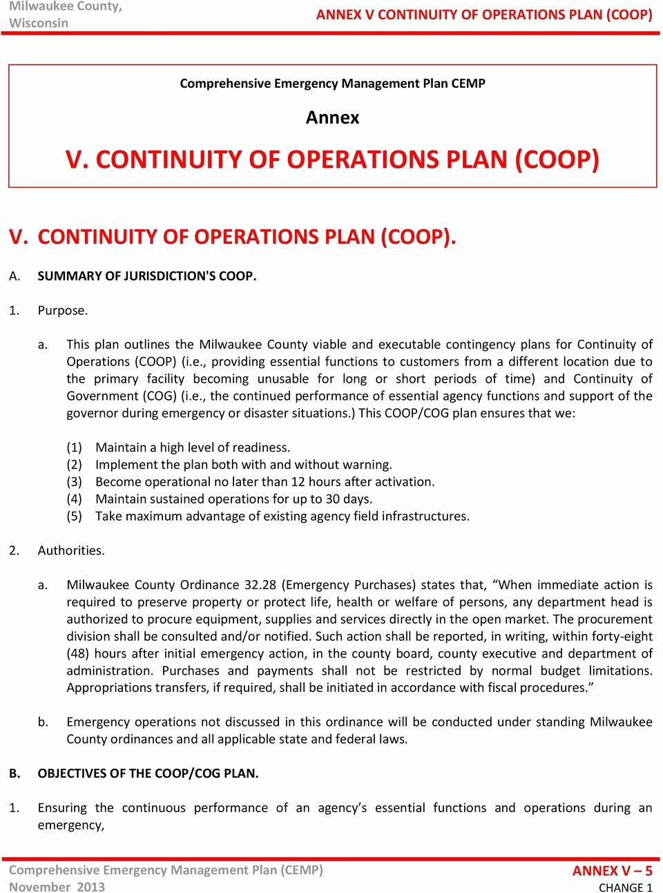 Continuity Of Operations Plan Template Beautiful Prehensive Emergency Management Plan Cemp Annex V