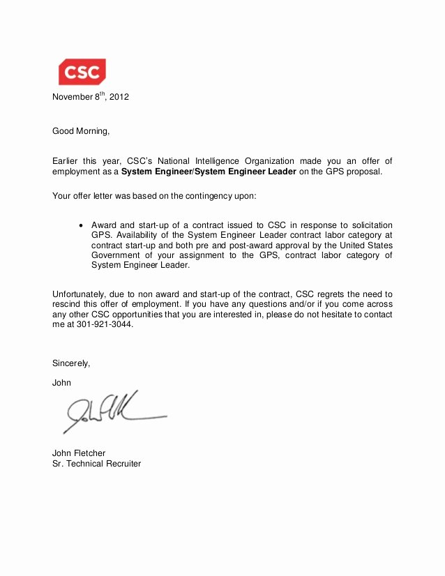 Contract Rescission Letter Beautiful Gps Rescind Offer Letter