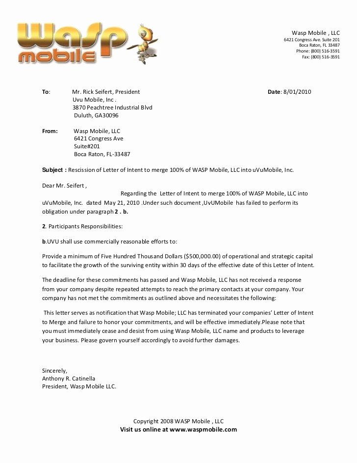 Contract Rescission Letter Best Of Rescission Of Letter Of Intent to Merge Of Wasp