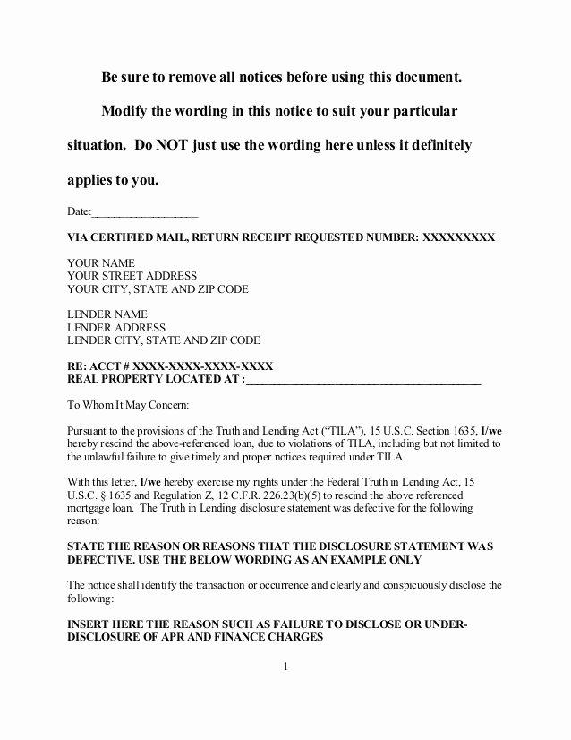 Contract Rescission Letter Elegant Sample Tila Notice Of Rescission