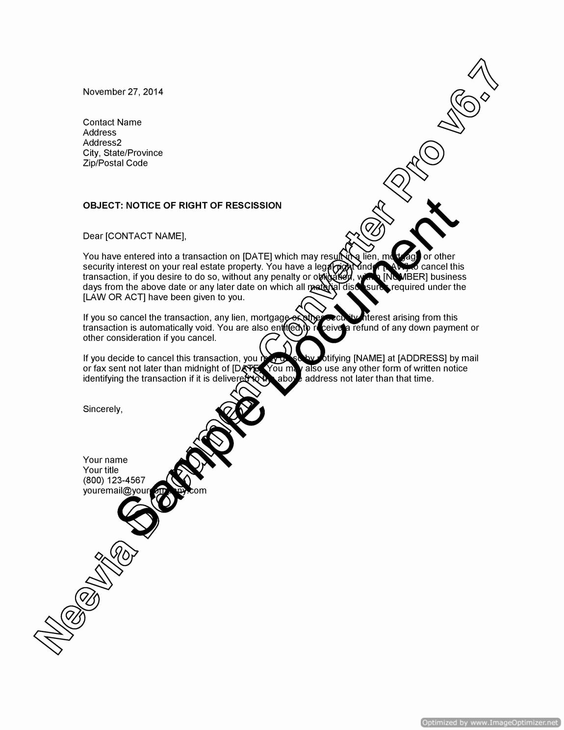 Contract Rescission Letter Luxury Notice Of Right Of Rescission