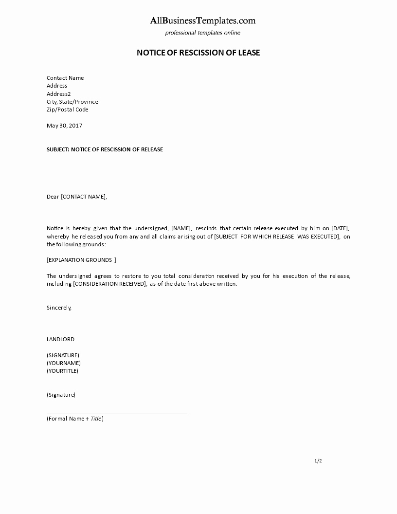 Contract Rescission Letter New Free Notice Of Rescission Of Lease Example formal