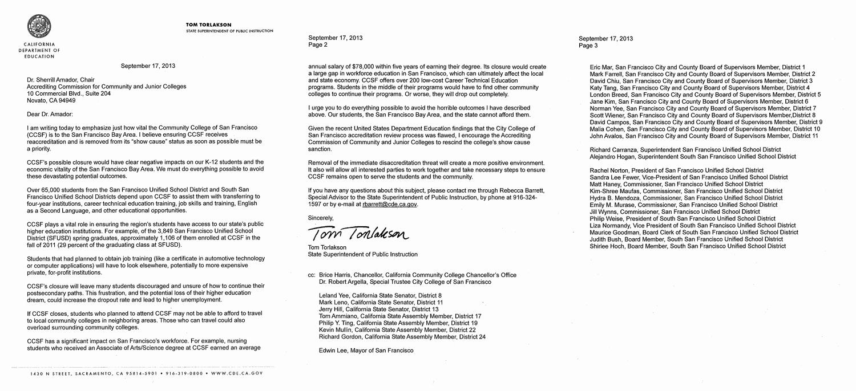Contract Rescission Letter New tom torlakson Urges the Accjc to Rescind Ccsf's Sanction