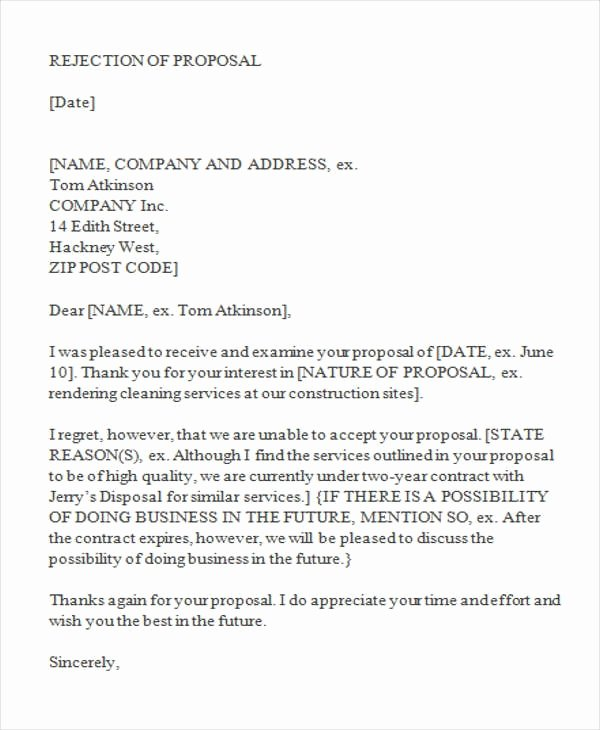 Contractor Engagement Letter Awesome 10 Letter Of Rejection for Proposal