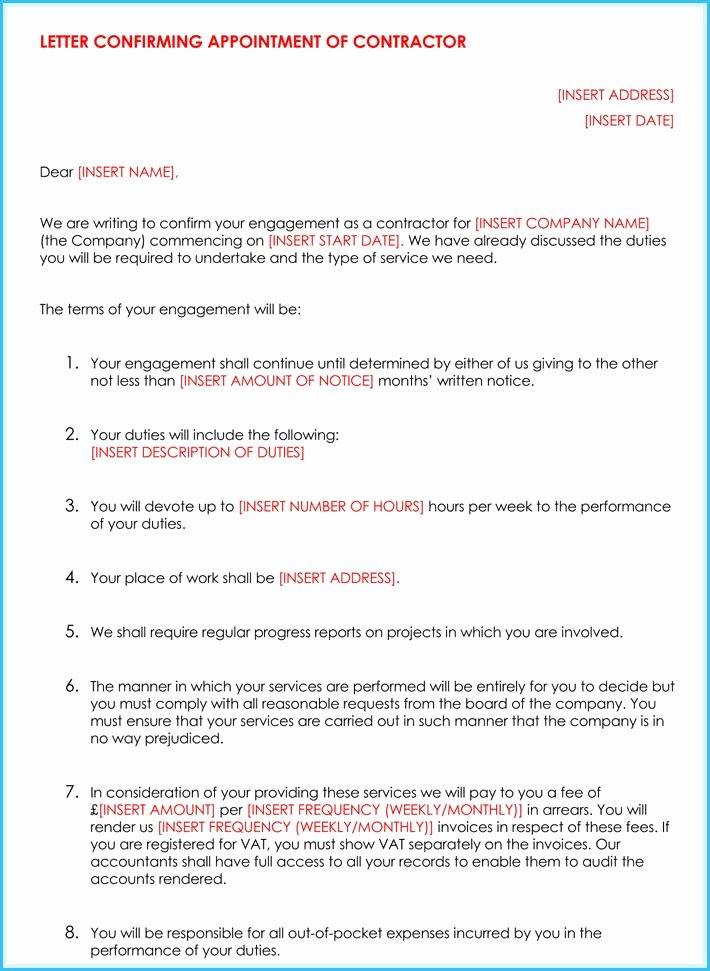 Contractor Engagement Letter Beautiful Letter Engagement Template Contractor Bluemooncatering