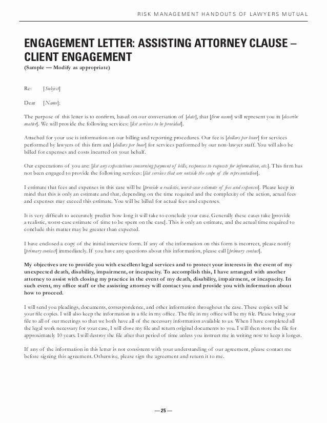 Contractor Engagement Letter Fresh Closing Practice